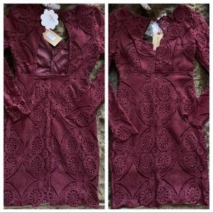 Shop Hope's burgundy dress